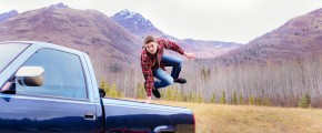 Guys creative outdoor senior photos Alaskan mountains